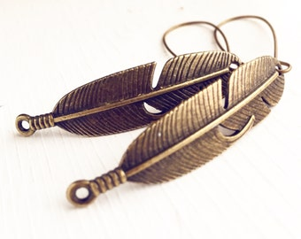 Feather Earrings / Long Dangly Pierced Boho Bohemian Bridesmaids Wedding Bridal Party Gifts Favors Summer Music Festival Style Outdoorsy
