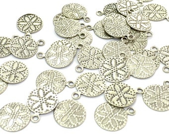 20 Pcs (10mm) Antique Silver Plated Brass Tag Charms   G4663