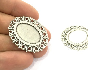 2 Pcs. Antique Silver Plated Mountings , Blanks (25x18 mm blank) G4670