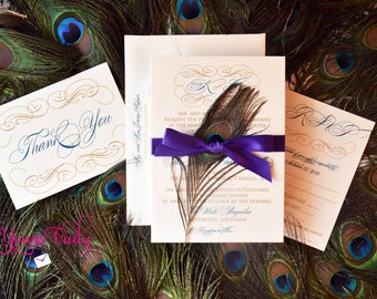 sample custom digital calligraphy peacock wedding invitation engagement party announcement in royal - Peacock Wedding Invitations