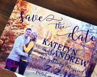 Sample - Custom Picture Wedding Save the Date card with your photo and colors with envelope and  optional magnet