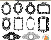 SALE - Ornate Baroque Frame Clip Art, Gothic Digital Frames, ClipArt & Photoshop Brush, Elegant Victorian Digital Stamp, Frame Silhouette
