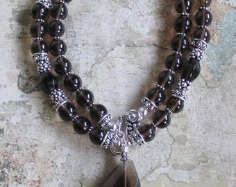 Smokey Quartz and Sterling Necklace-- genuine smokey quartz