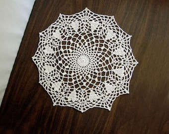 Crochet Hearts Lace Doily, Modern Table Accessory, Ecru, Romantic, Original Design, Mother's Day Gift