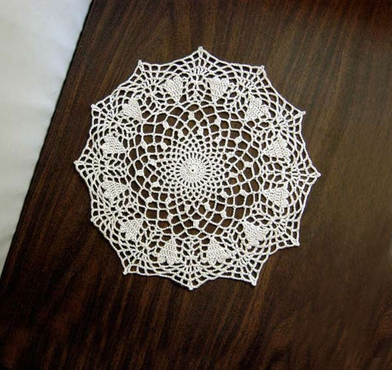 Hearts crochet lace doily new home decor ecru by nutmegcottage for Lace home decor