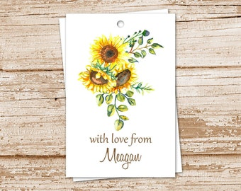 sunflower gift tags . PRINTABLE favor tags . personalized . watercolor sunflowers . floral botanical flowers tags, birthday tags . YOU PRINT