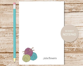 personalized notepad . knitting notepad . knitting note pad . custom stationery . knitter stationary . yarn ball needles . knitter gift