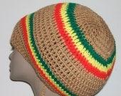 Irie Brown Unisex Crochet Rastafarian Tam/ Jamaica Hat/ Bob Marley/ One Love/ Dreads Tam