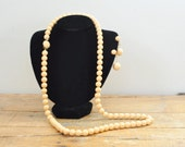 Vintage Single Strand Beige Beaded Necklace And Clip On Earring Set Hong Kong Mid Century