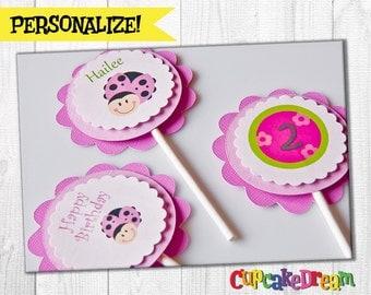 Ladybug Birthday Cupcake Toppers, Pink Ladybug Baby Shower