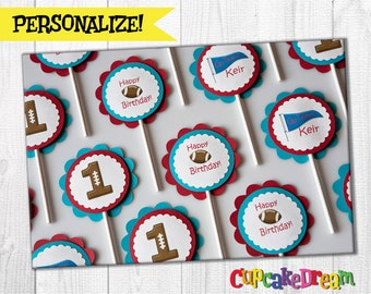 Football Birthday Cupcake Topper, Sports Birthday Party, set of 12