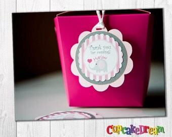 Elephant Baby Shower, Favor Tags, Set of 12