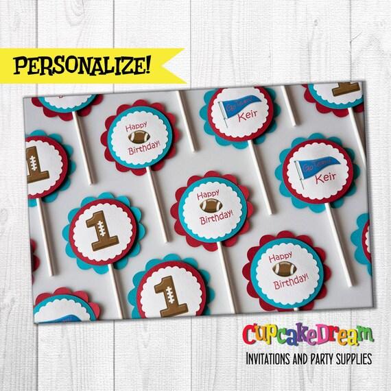 Football Birthday Cupcake Topper, Sports Birthday Party, set of 12