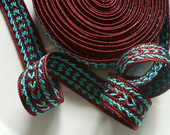 Moroccan trim, Rust and turquoise  art silk  5 metres