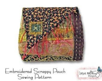 Embroidered Scrappy Pouch - PDF Sewing Pattern - Instant Download