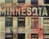 NEW, Minnesota sign, Minnesota building, St Paul MN, digital Photo, wall art, MN photo , home decor, windows, rustic,  art, brown, collage