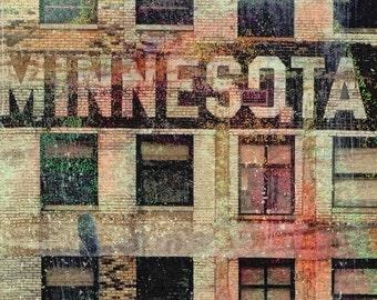 NEW, Minnesota sign, Minnesota building, St Paul MN, digital Photo, wall art, MN photo , home decor, windows, rustic,  art, brown, collage