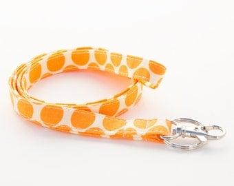Amy Butler - Tangerine Dots - Skinny Lanyard ID Badge Holder - Key Strap