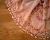 Peach beaded scarf, turkish oya, cotton