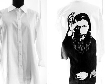 Rasputin / The Mad Monk / hand-painted on button-down shirt