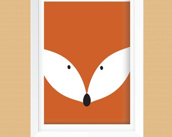 Clever Fox Nursery Wall Printable - Clever Fox Kids Room Wall Art Printable -  Fox Wall Art Print -  Instant Download -  8x10 and 12x12