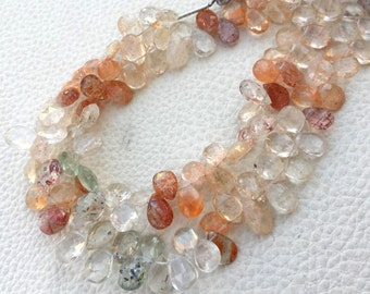 Oregon Sunstone,Full 7 Inch Strand,Gorgeous Quality,Finest-Superb Sunstone Faceted Pear Shape Briolettes,aprx. 8-9 aprx.