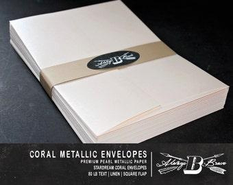 25 Coral Metallic A7 Envelopes | Blush Envelope | 5 1/4 x 7 1/4 fits 5 x 7 Invitation | Coral Envelope | STARDREAM Coral Metallic