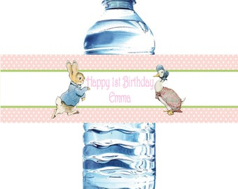 Peter Rabbit Water Bottle Labels- Waterproof-Baby Shower or Birthday Beatrix  Potter bunny  Easter 1st birthday  baby shower birthday