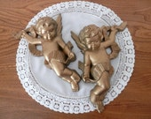 Golden Cherubs - Set of Two by Burwood -1970s - Made in USA - Angel Wall Hangings