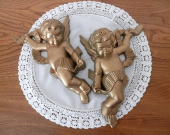 Golden Cherubs Wall Hangings- Set of Two by Burwood -1970s - Made in USA - Angel Wall Hangings