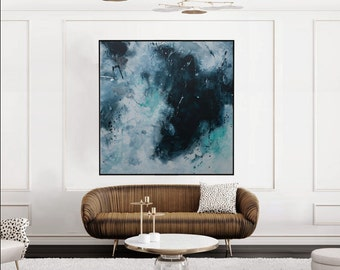 large seascape painting square abstract painting blue turquoise black -one perfect tide- Elena