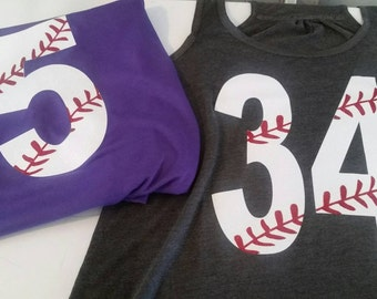 Baseball number shirt, Baseball Mom Shirt, Baseball Mom Tank, Baseball Shirt, Baseball, Personalized Shirt, Softball Tank. Softball Mom Tee