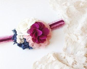 Plum Tuckered Out- blush, ivory, navy and plum headband