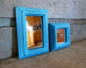 Turquoise Mirrors Wood Frame Distressed Set of 2