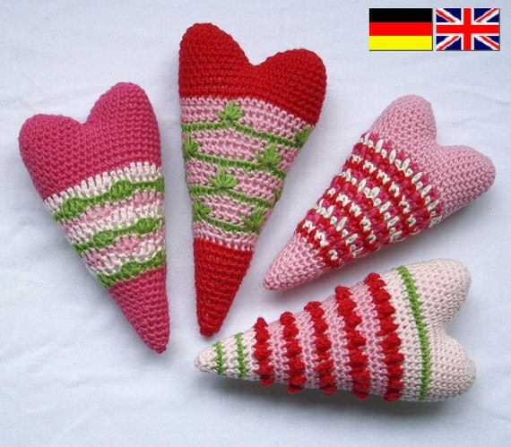 Heart x4 - Crochet Pattern, PDF in English, Deutsch