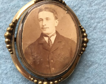 Victorian Hair and Photo Swivel Brooch