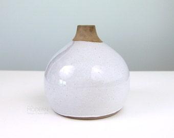 Vintage Martz Marshall Studios Pottery Large Bulbous White Vase M126