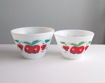2 Vintage Fire King Apple Cherry Splash Proof Mixing Bowls