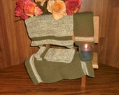Four Large green meadow Pre- shrunk 100 percent cotton machine knit dish cloths...11 inches X 12 inches