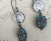 MARY in TURQUOISE - Wonderful Earrings with French Religious Mary Medals