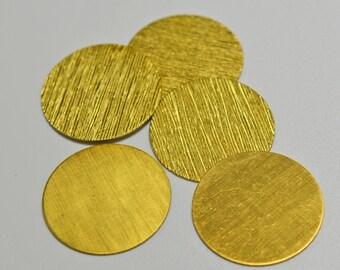 Brass disks, textured round, no holes, 25mm - #2069