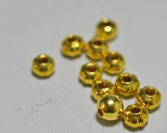 Gold plated rondelle beads, corrugated, 3x2mm - #2076