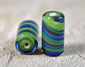 Glass swirl beads, 18mm, #431