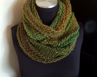 Hand Knit Infinity Cowl Scarf in Shades of Green