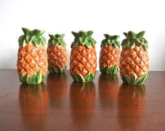 Vintage Ceramic Pineapple Salt and Pepper Shakers - Pineapple Figurines