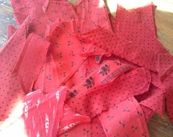 Antique (30) Scrap Fabric Quilt Pieces all from 1880 to 1910 - Red and Black - Red and White Shirting or Dress Material COTTON