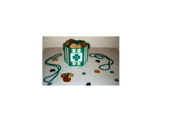 Plastic Canvas St. Patricks Day Candy Dish/Vase Pattern Instant Download
