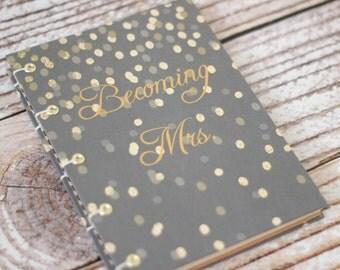 Wedding Planner - wedding organizer - coptic - hard cover - gatsby - gold and black - 20's - art deco - checklists - registry - budget