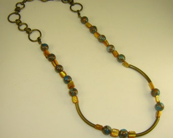 Jasper, Mother of Pearl, Bronze Tubes and Chain Necklace
