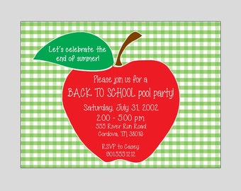 Back to School Pool Party Invitation Printable ~ Welcome Back ~ You print